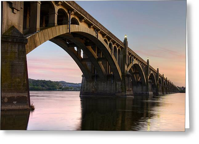 Sunset At The Columbia - Wrightsville Bridge Greeting Card by Dan Myers