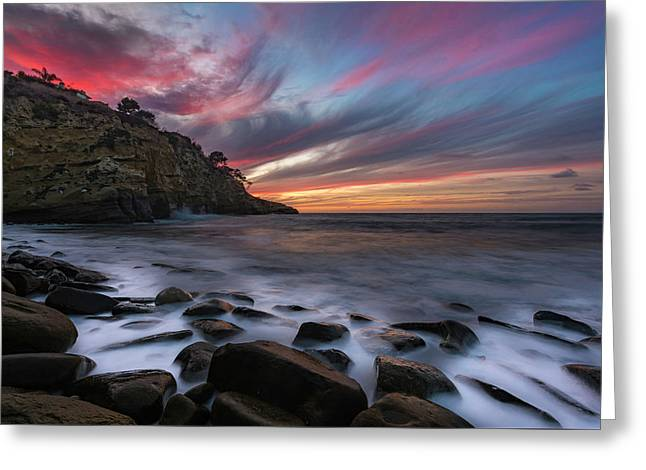 Sunset At The Cove Greeting Card