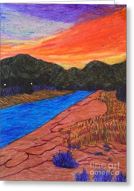 Sunset At The End Of The Road  Greeting Card