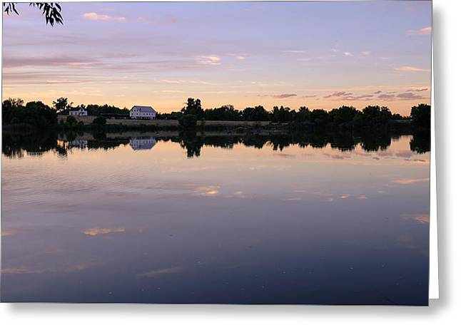 Greeting Card featuring the photograph Sunset At The Farmhouse by Monte Stevens