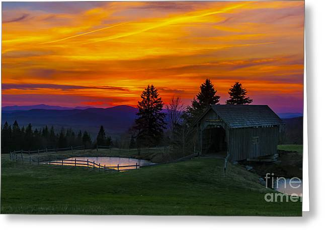 Sunset At The Foster Covered Bridge. Greeting Card