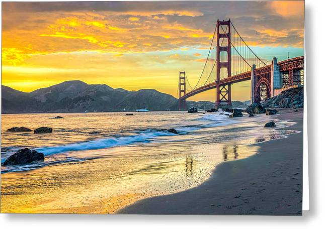 Sunset At The Golden Gate Bridge Greeting Card