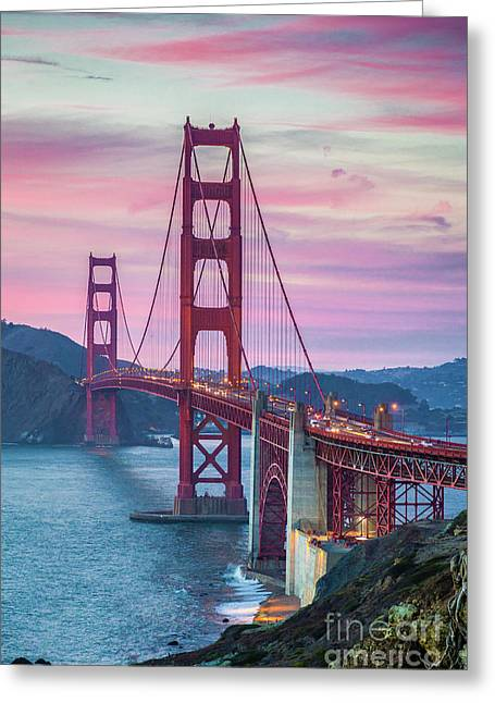 Sunset At The Golden Gate Greeting Card by JR Photography