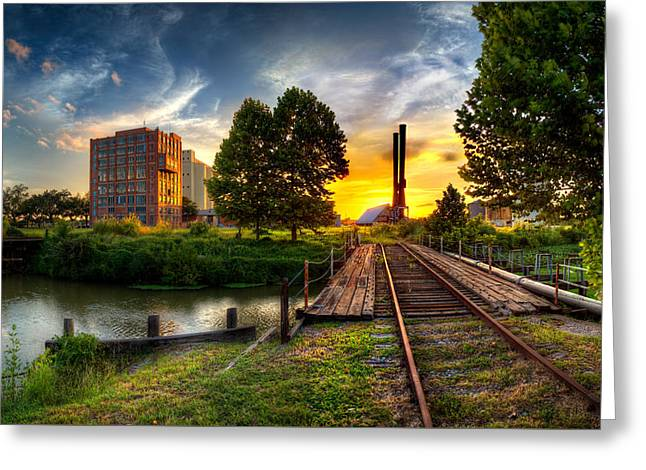 Sunset At The Imperial Sugar Factory Smoke Stacks Early Stage Landscape Greeting Card by Micah Goff