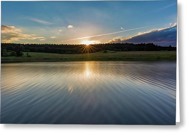 Sunset At The Mandelholz Dam, Harz Greeting Card