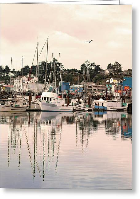 Greeting Card featuring the photograph Sunset At The Marina by Diane Schuster