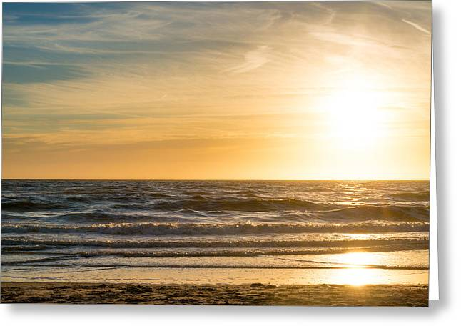 Greeting Card featuring the photograph sunset at the North Sea by Hannes Cmarits