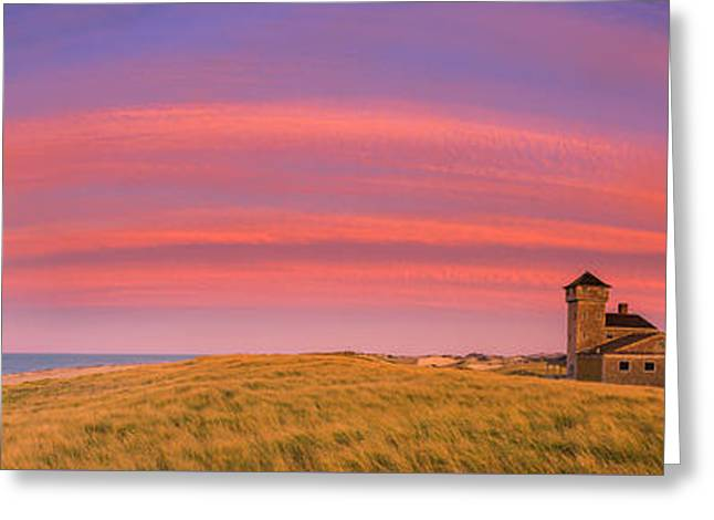 Sunset At The Old Harbor Us Life Saving Station At Race Point, P Greeting Card by Henk Meijer Photography