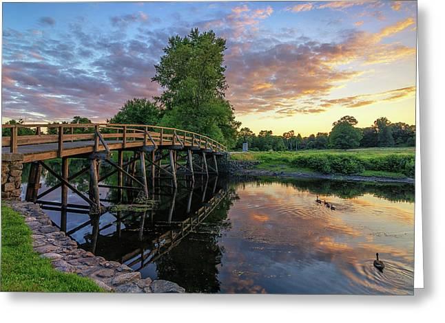 Sunset At The Old North Bridge Greeting Card