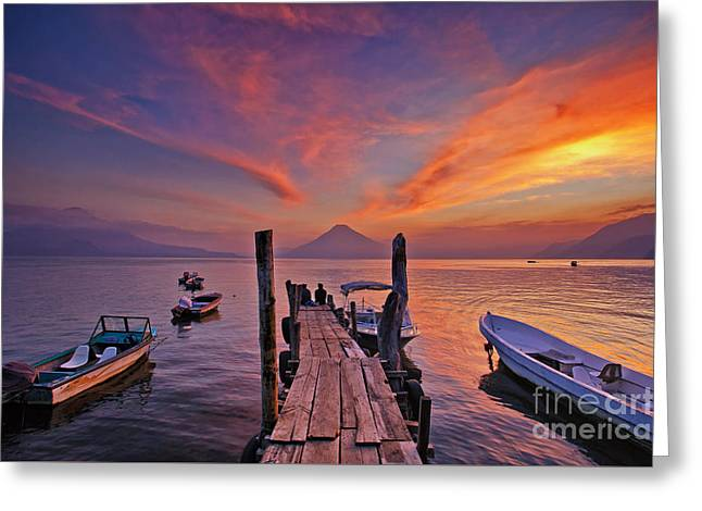 Sunset At The Panajachel Pier On Lake Atitlan, Guatemala Greeting Card