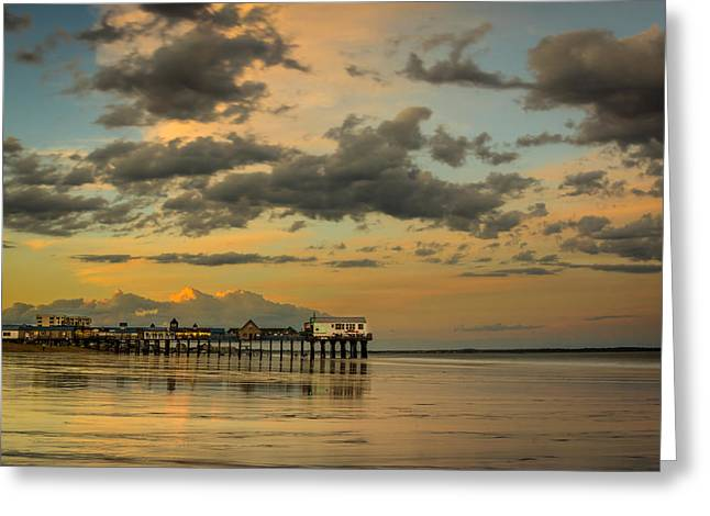 Sunset At The Pier Greeting Card by Jason Baldwin - Shared Perspectives  Photography