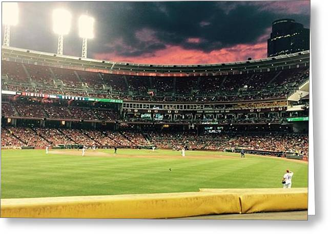 Sunset At A Reds Game Greeting Card