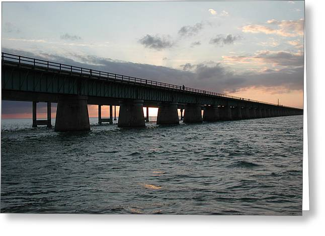 Greeting Card featuring the photograph Sunset At The Seven Mile Bridge by Nancy Taylor