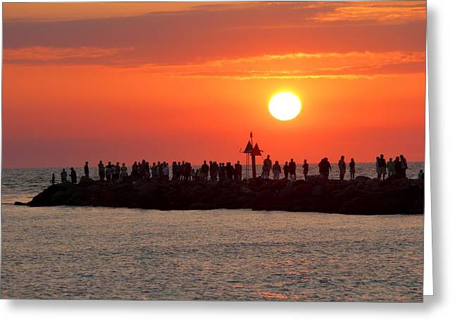 Sunset At The South Jetty, Venice, Florida, Usa Greeting Card