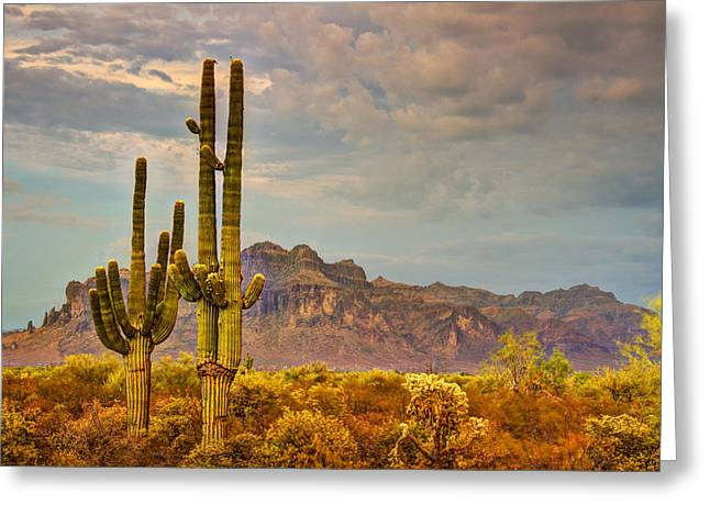 The Supes Greeting Cards - Sunset at the Superstitions  Greeting Card by Saija  Lehtonen