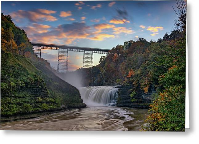 Sunset At The Upper Falls Greeting Card by Rick Berk