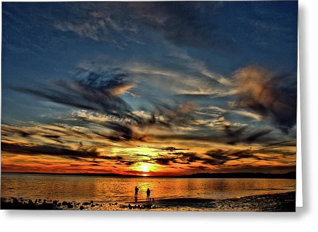 Sunset At The Waters Edge Greeting Card