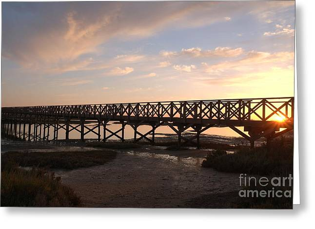 Sunset At The Wooden Bridge Greeting Card