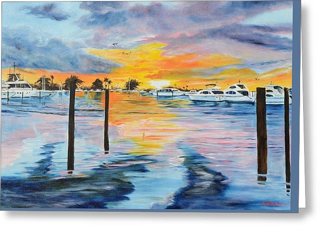 Sunset At The Yacht Club Greeting Card