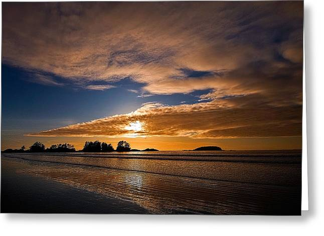 Sunset At Tofino Greeting Card by Detlef Klahm