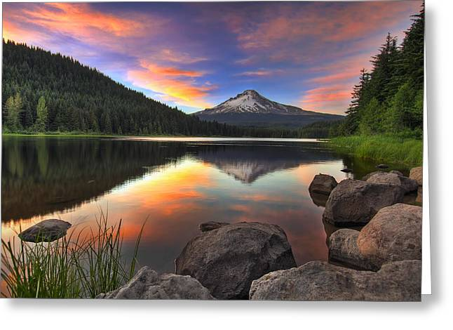 Sunset At Trillium Lake With Mount Hood Greeting Card