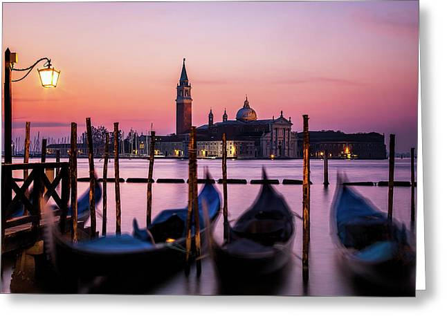 Sunset At Venice Greeting Card
