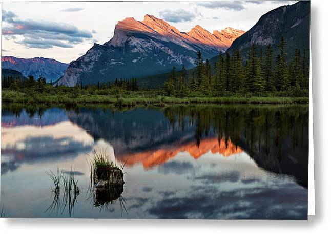 Greeting Card featuring the photograph Sunset At Vermillion Lakes, Banff Canada 2 by Dave Dilli
