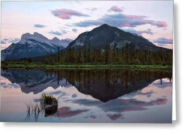 Sunset At Vermillion Lakes, Banff Canada Greeting Card by Dave Dilli