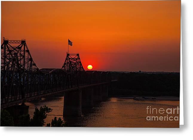 Sunset At Vicksburg Greeting Card