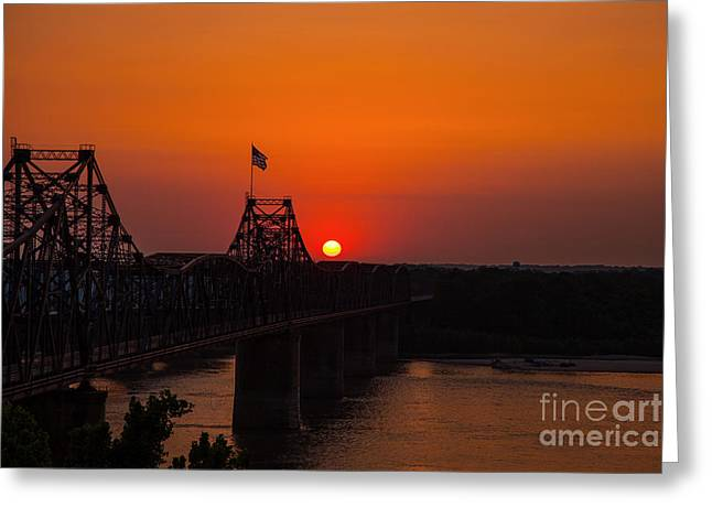 Sunset At Vicksburg Greeting Card by T Lowry Wilson