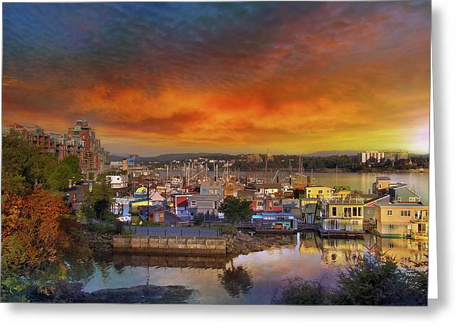 Sunset At Victoria Inner Harbor Fisherman's Wharf Greeting Card by David Gn