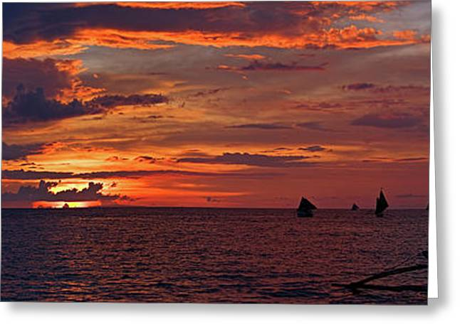 sunset at White Beach Greeting Card