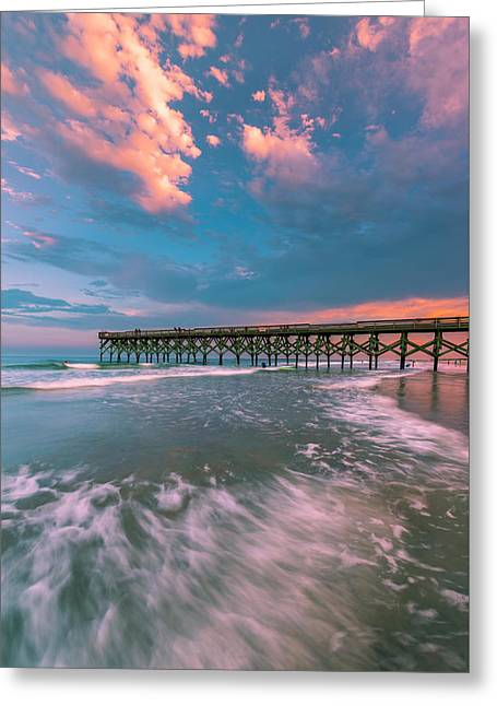 Sunset At Wilmington Crystal Pier In North Carolina Greeting Card