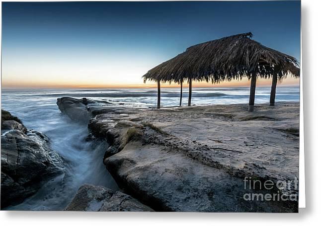 Sunset At Windansea Beach Shack Greeting Card