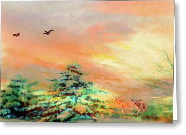 Sunset At Winter Wonderland Greeting Card by Mike Breau