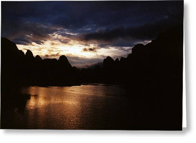 Sunset At Yangshuo In China Greeting Card by Gosta Eger