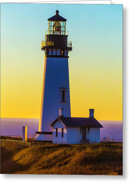 Sunset At Yaquina Head Lighthouse Greeting Card by Garry Gay