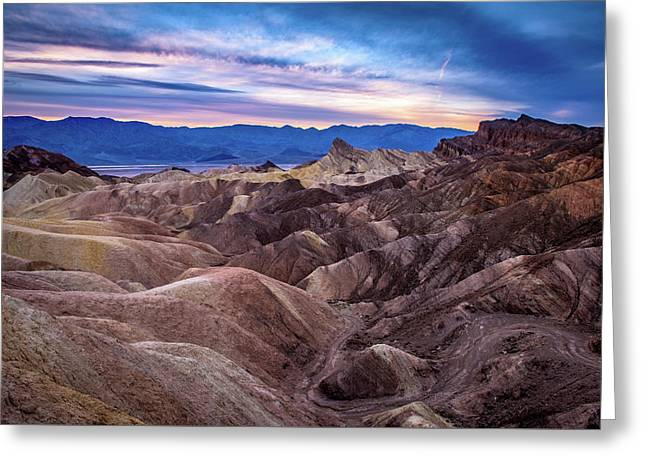 Sunset At Zabriskie Point In Death Valley National Park Greeting Card