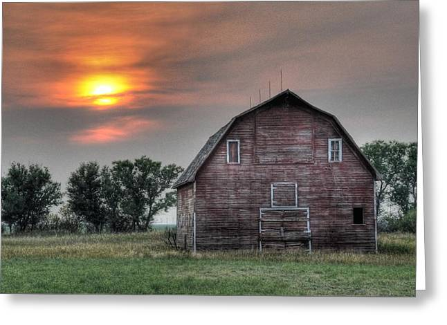 Sunset Barn Greeting Card