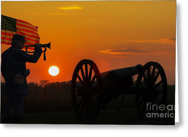 Sunset Battlefield Taps Greeting Card by Randy Steele