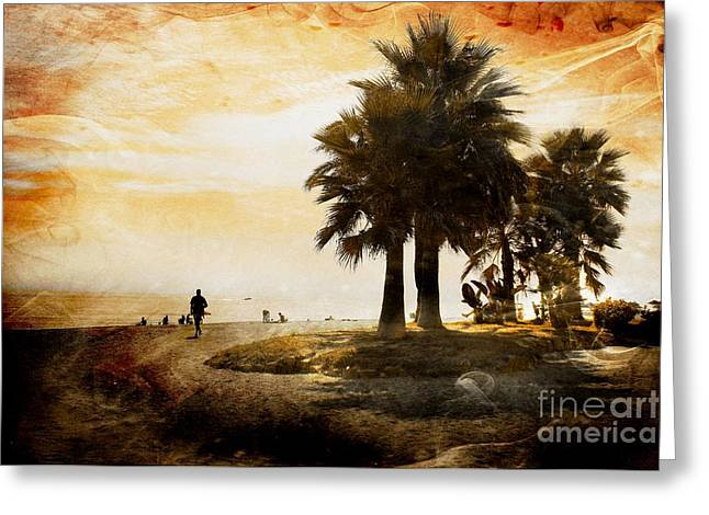 Sunset Beach Greeting Card by Clare Bevan