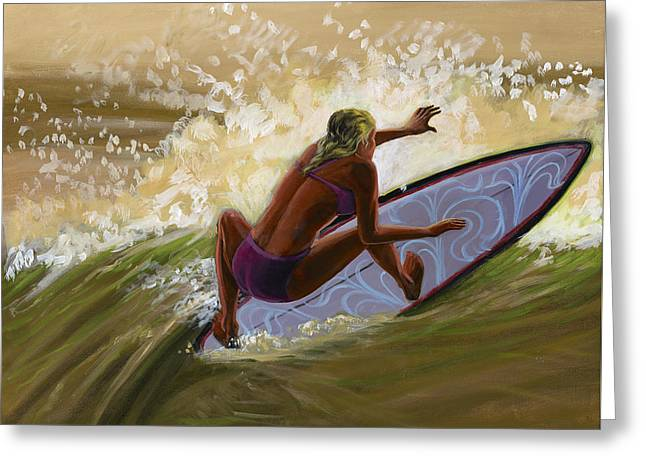 Sunset Beach Girl Greeting Card by Hank Wilhite