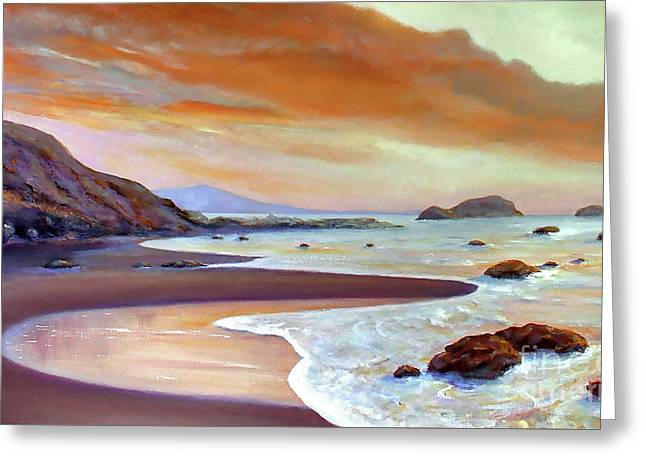 Sunset Beach Greeting Card by Michael Rock