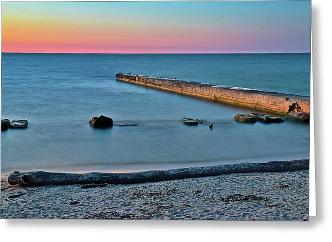Greeting Card featuring the photograph Sunset Beach On Lake Erie by Frozen in Time Fine Art Photography