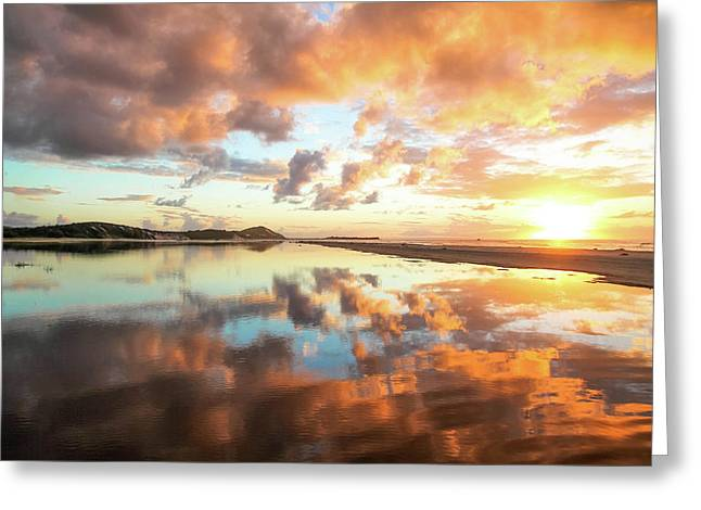 Sunset Beach Reflections Greeting Card