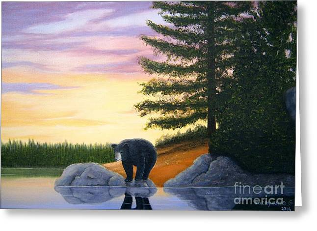 Greeting Card featuring the painting Sunset Bear by Tracey Goodwin