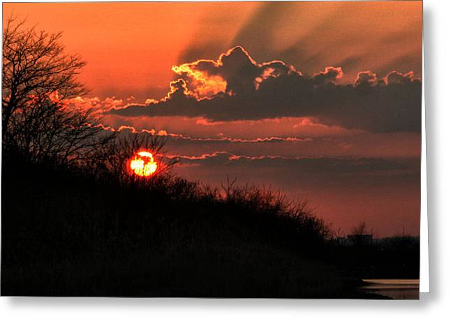 Sunset Behind A Knoll Greeting Card by William Selander
