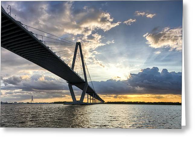 Sunset Behind Arthur Ravenel Jr Bridge Charleston South Carolina Greeting Card by Dustin K Ryan