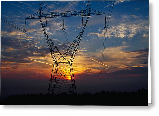 Sunset Behind High Tension Power Lines Greeting Card by Panoramic Images