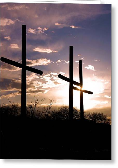 Sunset Behind The Cross Greeting Card by Tim Abshire